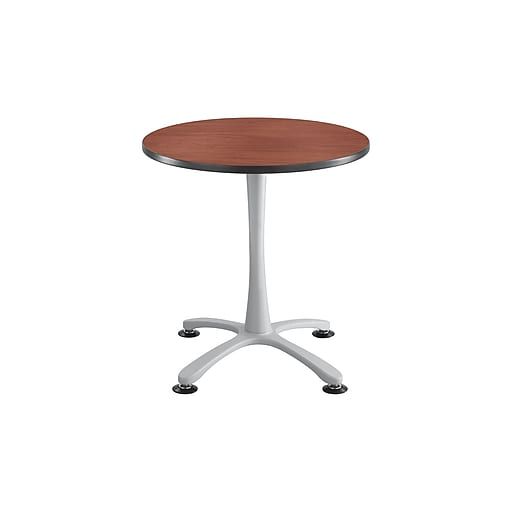 """Safco® Cha-Cha™ 30"""" Laminate Round Table With Steel X Base Sitting Height, Cherry/Silver"""