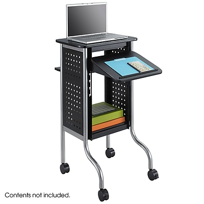 Safco® Scoot™ 2 Shelf Steel Presentation Cart, Black (8945BL)