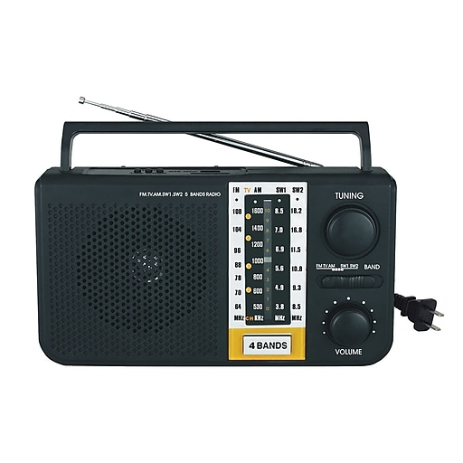 Supersonic® 5 Band AM/FM/SW1/SW2/TV Portable Radio