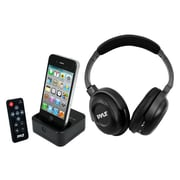 Pyle® UHF Wireless Stereo Headphones With iPhone/iPod Dock Transmitter and RF Remote Control