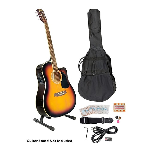 """Pyle® 41"""" Acoustic-Electric Guitar Package With Gig Bag/Strap/Picks/Tuner and Strings, Sunburst"""