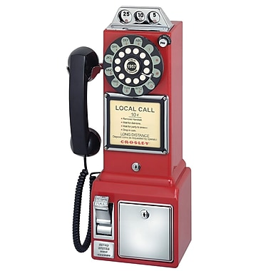 Us Basic 93578546M 1950's Retro Classic Single Line Corded Pay Phone, Red