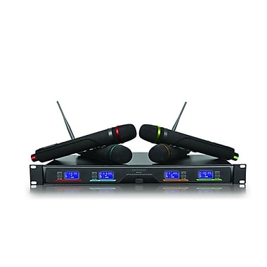 Technical Pro WM1641 Professional UHF Quad Wireless Microphone System, Black