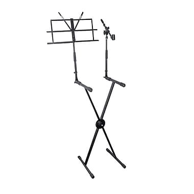 Pyle® PKS30 Keyboard Stand With Music Stand and Microphone Boom, Black