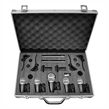 Pyle® PDKM7 7 Microphone Wired Drum Kit With Carry Case & Mounting Accessories, Black