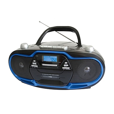 Supersonic® SC-745 Portable MP3/CD Player With USB/Aux Inputs/Cassette Recorder and AM/FM Radio, Blue