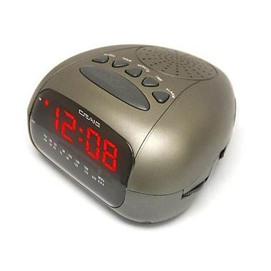 Craig® CR45329B Dual Alarm Clock Digital PLL LED AM/FM Radio, Black