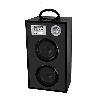Supersonic® SC-1300K Portable Rechargeable Speaker With Karaoke & FM Radio, Black