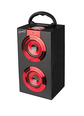 Supersonic® SC-1321 Portable Rechargeable Speaker With FM Radio, Red
