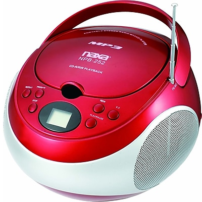 Naxa® NPB-252 MP3/CD Player With AM/FM Stereo Radio, Red