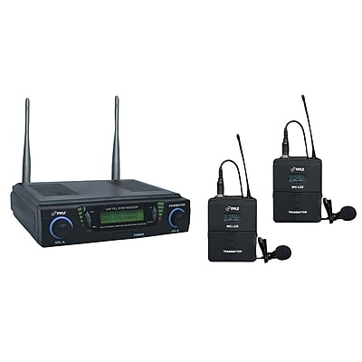Pyle® PDWM3700 Professional UHF Dual Channel Wireless Microphone System; Black