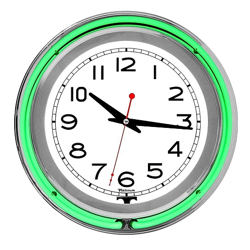 """Trademark Global™ NC-1099 14"""" White Inner Double Ring Neon Clock, Silver/Green Outer"""