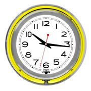 "Trademark Global™ NC-1099 14"" White Inner Double Ring Neon Clock, Silver/Yellow Outer"