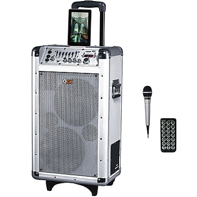 QFX PBX-3081BT 600 W PMPO Battery Powered Bluetooth PA Speaker, White