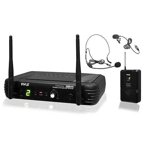 Pyle® PDWM1904 Professional UHF Wireless Body Pack Transmitter Microphone System,  Black