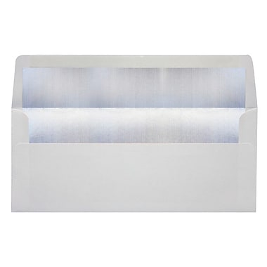 LUX Peel & Press #10 Square Flap Lined Envelopes (4 1/8 x 9 1/2) 250/Box, White w/Silver LUX Lining (FLWH4260-03-250)