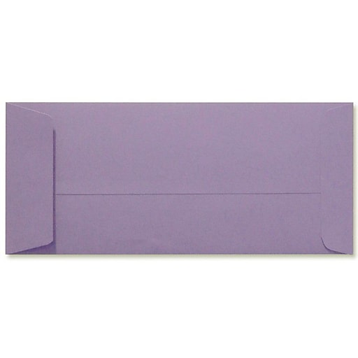 "LUX® 4 1/8"" x 9 1/2"" #10 80lbs. Open End Envelopes, Wisteria Purple, 50/Pack"