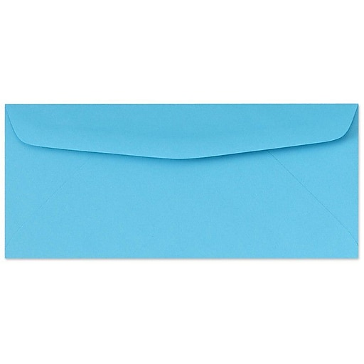 "LUX® 4 1/8"" x 9 1/2"" #10 60lbs. Bright Regular Envelopes, Blue, 50/Pack"