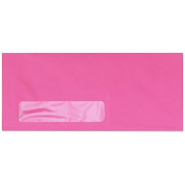 LUX Moistenable Glue #10 Window Envelopes (4 1/8 x 9 1/2) 50/Pack, Bright Fuchsia (4261-16-50)