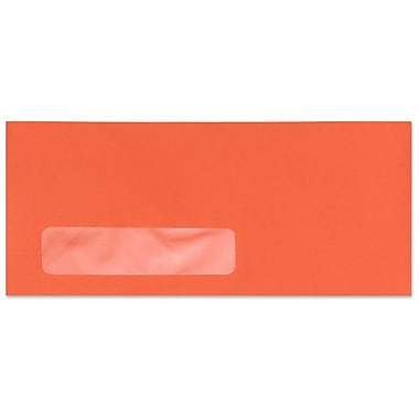 LUX Moistenable Glue #10 Window Envelopes (4 1/8 x 9 1/2) 500/Box, Bright Orange (4261-14-500)