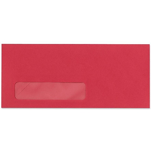 """LUX® 4 1/8"""" x 9 1/2"""" #10 Window Envelopes, Holiday Red, 50/Pack"""