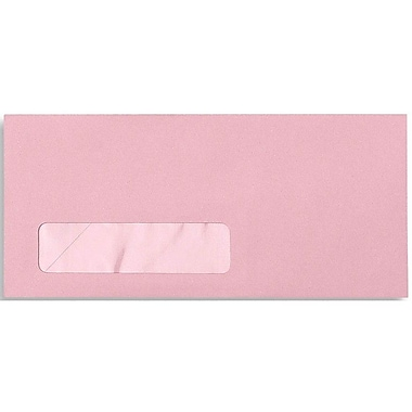 LUX Moistenable Glue #10 Window Envelopes (4 1/8 x 9 1/2) 250/Box, Pastel Pink (27419-250)