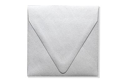 LUX 5 x 5 Square Contour Flap Envelopes 50/Box) 50/Box, Silver Metallic (1840-06-50)