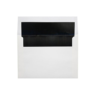 LUX 6 1/2 x 6 1/2 Foil Lined Square Envelopes, White w/Black LUX Lining, 250/Box (FLWH8535-02-250)