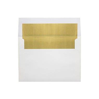 LUX 6 1/2 x 6 1/2 Foil Lined Square Envelopes, White w/Gold LUX Lining, 500/Box (FLWH8535-04-500)