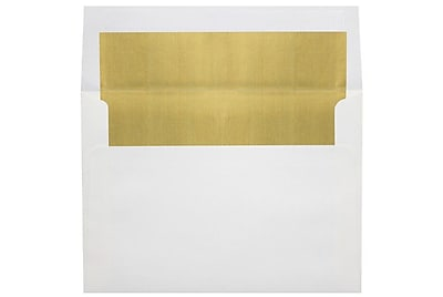 LUX 6 1/2 x 6 1/2 Foil Lined Square Envelopes 500/Box) 500/Box, White w/Gold LUX Lining (FLWH8535-04-500)