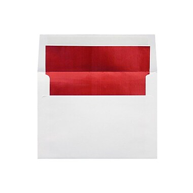 LUX 6 1/2 x 6 1/2 Foil Lined Square Envelopes, White w/Red LUX Lining, 250/Box (FLWH8535-01-250)
