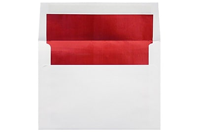 LUX 6 1/2 x 6 1/2 Foil Lined Square Envelopes 250/Box) 250/Box, White w/Red LUX Lining (FLWH8535-01-250)