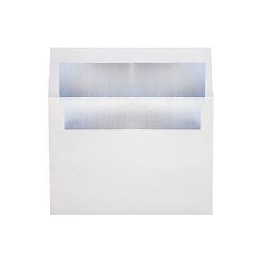 LUX 6 1/2 x 6 1/2 Foil Lined Square Envelopes, White w/Silver LUX Lining, 50/Box (FLWH8535-03-50)