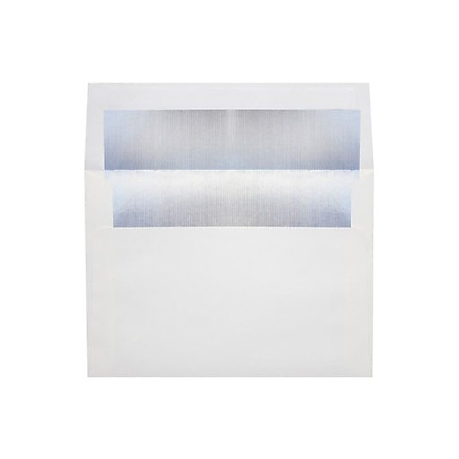 LUX 6 1/2 x 6 1/2 Foil Lined Square Envelopes 50/Box) 50/Box, White w/Silver LUX Lining (FLWH8535-03-50)