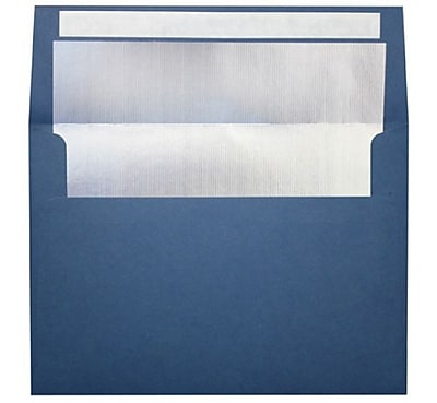 LUX A4 Foil Lined Invitation Envelopes (4 1/4 x 6 1/4) 250/Box, Navy w/Silver LUX Lining (FLNV4872-03-250)