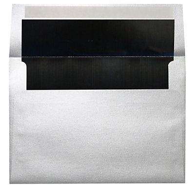 LUX A4 Foil Lined Invitation Envelopes (4 1/4 x 6 1/4) 500/Box, Silver w/Black LUX Lining (FLSL4872-02-500)