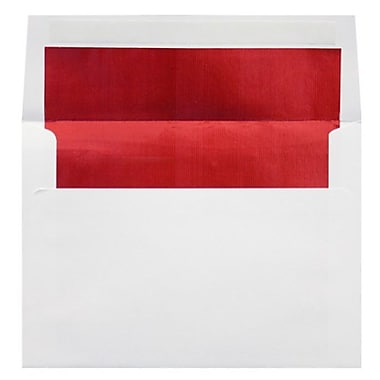 LUX A4 Foil Lined Invitation Envelopes (4 1/4 x 6 1/4), White w/Red LUX Lining, 500/Box (FLWH4872-01-500)