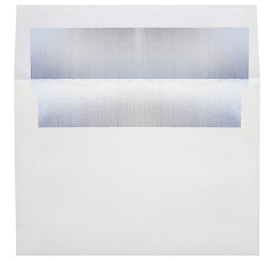 LUX A4 Foil Lined Invitation Envelopes (4 1/4 x 6 1/4) 250/Box, White w/Silver LUX Lining (FLWH4872-03-250)