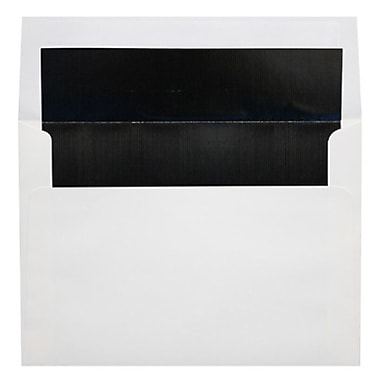 LUX A6 Foil Lined Invitation Envelopes (4 3/4 x 6 1/2), White w/Black LUX Lining, 50/Box (FLWH4875-02-50)