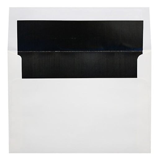 LUX A6 Foil Lined Invitation Envelopes (4 3/4 x 6 1/2) 50/Box, White w/Black LUX Lining (FLWH4875-02-50)