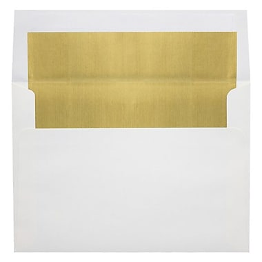 LUX A6 Foil Lined Invitation Envelopes (4 3/4 x 6 1/2), White w/Gold LUX Lining, 500/Box (FLWH4875-04-500)