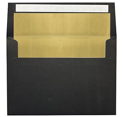 LUX A7 Foil Lined Invitation Envelopes (5 1/4 x 7 1/4) 50/Box, Black w/Gold LUX Lining (FLBK4880-04-50)