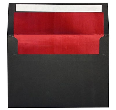 LUX A7 Foil Lined Invitation Envelopes (5 1/4 x 7 1/4) 250/Box, Black w/Red LUX Lining (FLBK4880-01-250)