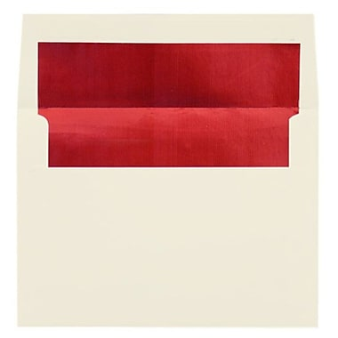 LUX A7 Foil Lined Invitation Envelopes (5 1/4 x 7 1/4), Natural w/Red LUX Lining, 250/Box (FLNT4880-01-250)