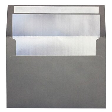 LUX A7 Foil Lined Invitation Envelopes (5 1/4 x 7 1/4), Smoke w/Silver LUX Lining, 250/Box (FLSM4880-03-250)