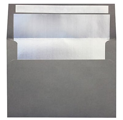 LUX A7 Foil Lined Invitation Envelopes (5 1/4 x 7 1/4) 50/Box, Smoke w/Silver LUX Lining (FLSM4880-03-50)