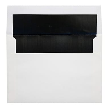 LUX A7 Foil Lined Invitation Envelopes (5 1/4 x 7 1/4) 50/Box, White w/Black LUX Lining (FLWH4880-02-50)