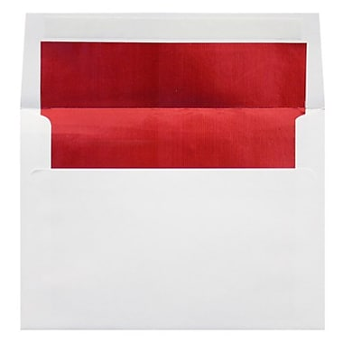 LUX A7 Foil Lined Invitation Envelopes (5 1/4 x 7 1/4) 50/Box, White w/Red LUX Lining (FLWH4880-01-50)