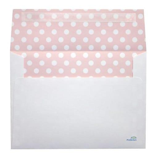 """LUX® 5 1/4"""" x 7 1/4"""" 70lbs. A7 Envelopes W/Peel & Press, White/Pink Polka Dots"""