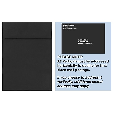 LUX A7 Vertical Invitation Envelopes (7 1/4 x 5 1/4), Midnight Black, 250/Box (4880V-B-250)